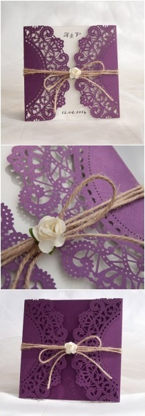 Rustic purple laser cut invitation with twine and flower ewws057