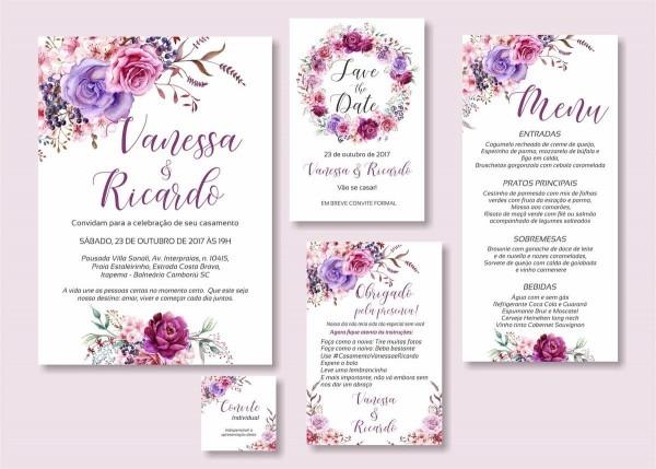 Convite casamento floral lilás roxo