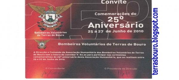Terras de bouro  convite para as comemorações dos 25 anos dos