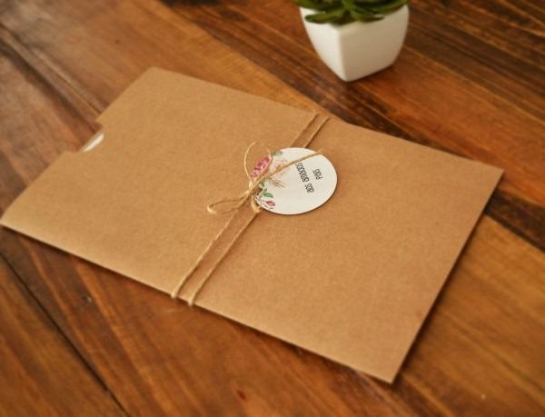 Formato 15x26cm envelope  papel kraft 180g convite  fosco 240g
