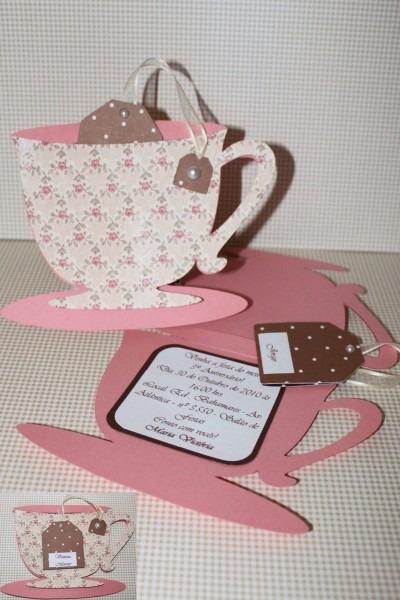 I like how the tea bag is inside the teacup  maybe the invite
