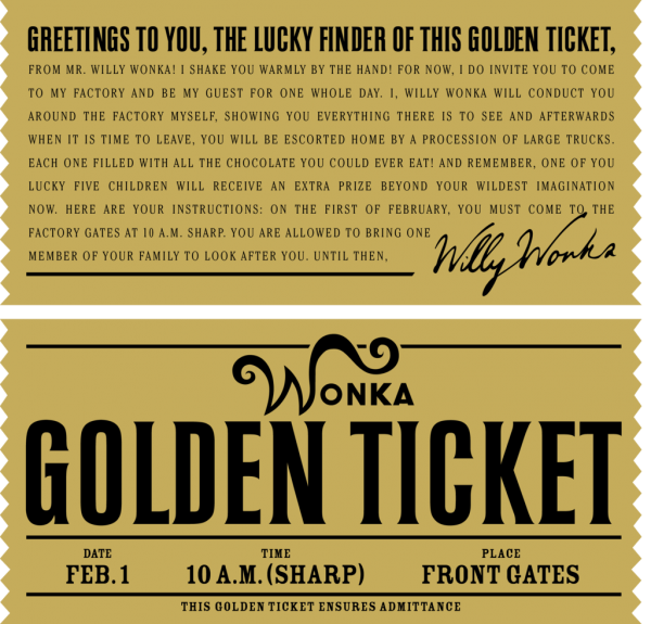 Golden ticket for invitation or to add to chocolate bars!