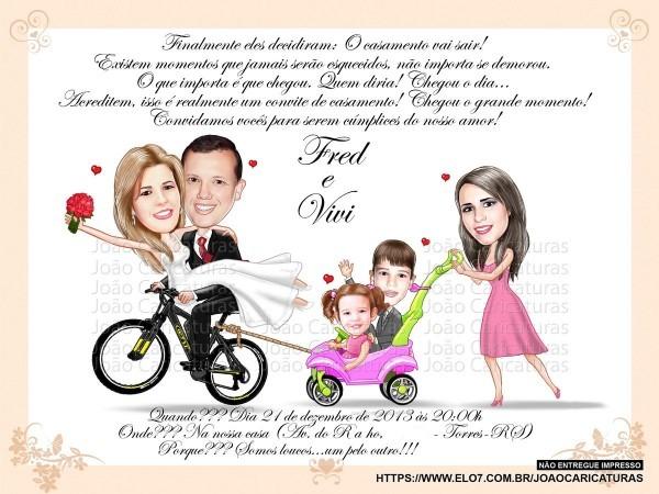 Caricaturas digitais para convites encontro (não impresso) no elo7
