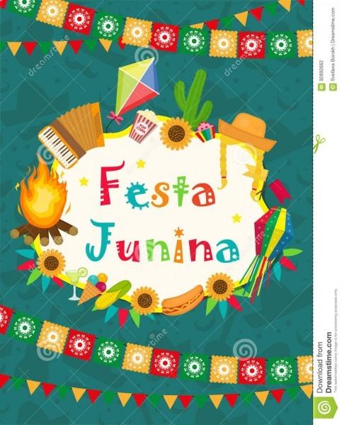 Cartão de festa junina, convite, cartaz molde latino