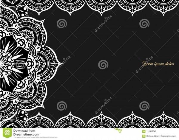 Cartão do vintage em um fundo preto molde luxuoso do ornamento
