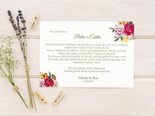 Cartão de agradecimento para padrinhos no elo7