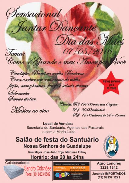 Participe do jantar dançante do dia das mães « santuário nossa
