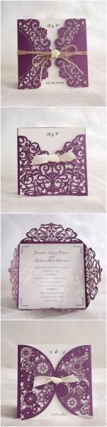 Convite de casamento roxo e lilás