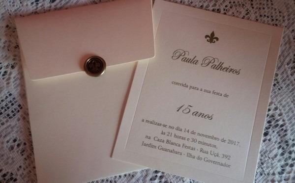 Convite 15 anos clássico em relevo promoção no elo7