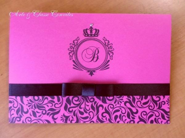 Convite 15 anos pink e preto no elo7