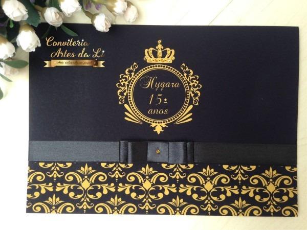 Convite 15 anos casamento preto e dourado no elo7