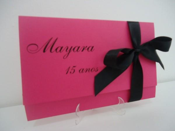 Convite 15 anos preto e rosa pink no elo7
