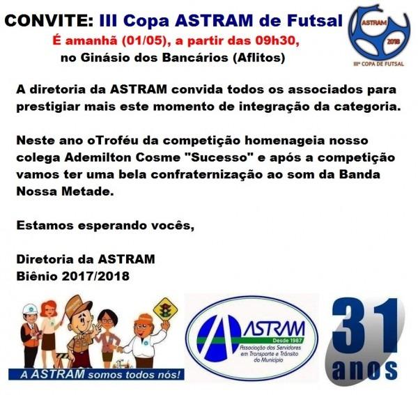 Astram  convite  iii copa astram de futsal