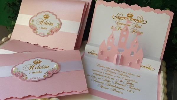 Convite 3d castelo princesa no elo7