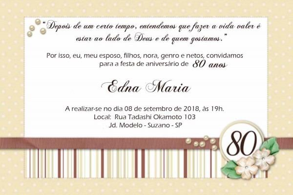 Convite 80 anos personalizado