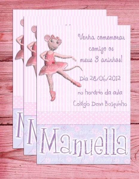 Convite angelina ballerina no elo7