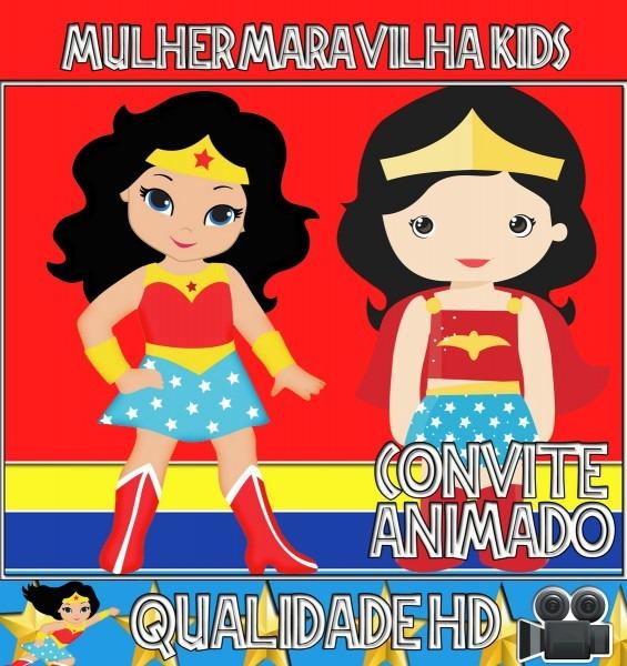 Convite animado aniversário mulher maravilha kids