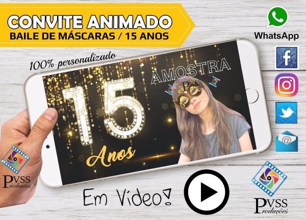 Convite animado digital virtual baile de máscaras 15 anos