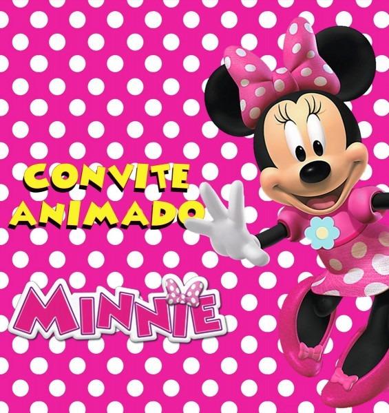 Convite animado em vÍdeo para aniversário   minnie rosa no elo7