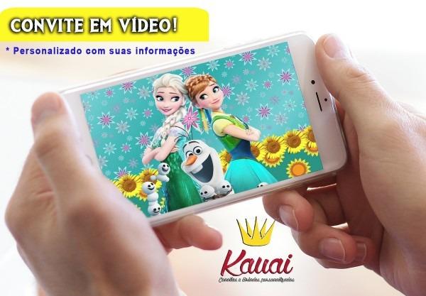 Convite animado frozen fever (convite em vídeo) no elo7