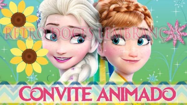Convite animado frozen fever no elo7