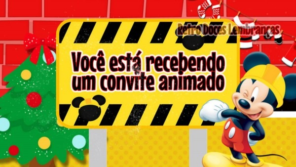 Convite animado mickey natal no elo7