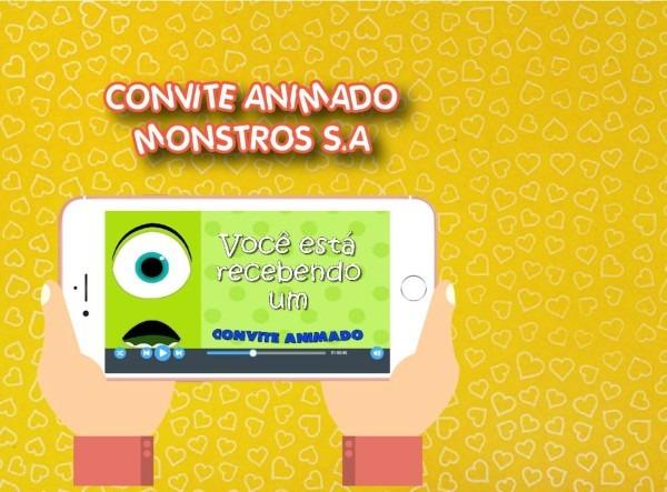 Convite animado monstros s a no elo7
