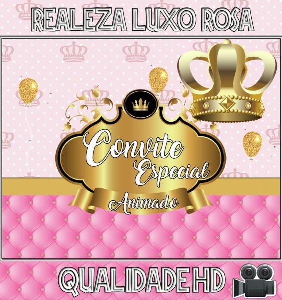 Convite animado (vÍdeo) aniversário realeza luxo rosa no elo7