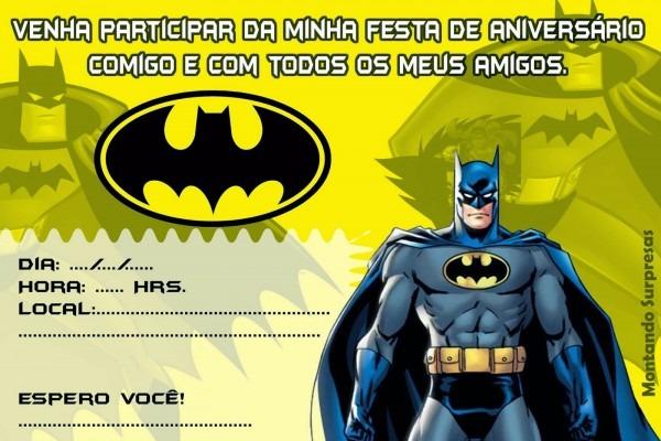 Convite aniversario batman gratis » happy birthday world