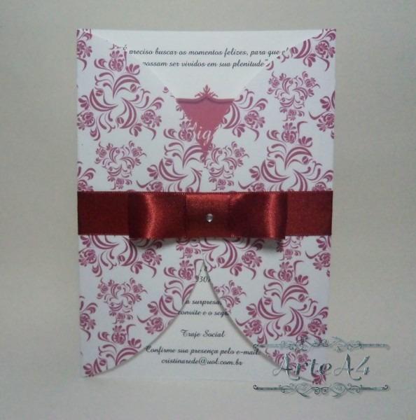 Convite aniversário envelope impresso no elo7
