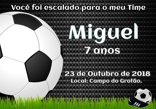 Convite aniversario futebol no elo7