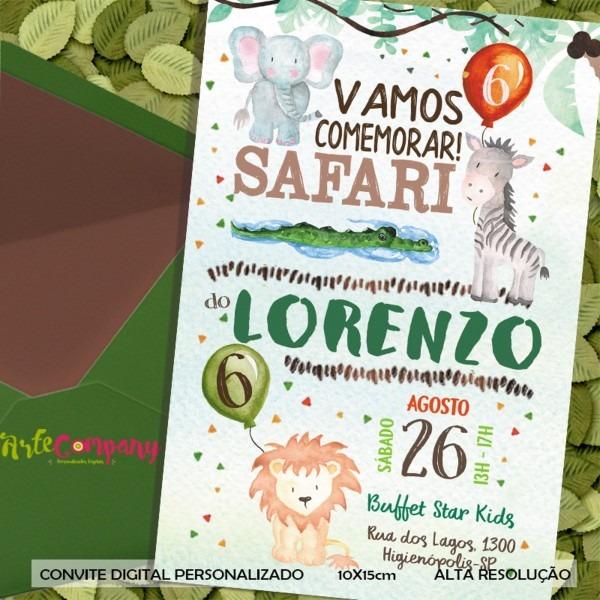 Convite aniversário safari menino no elo7