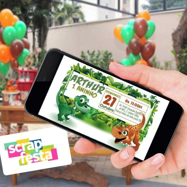 Convite arte digital personalizado festa dinossauro no elo7
