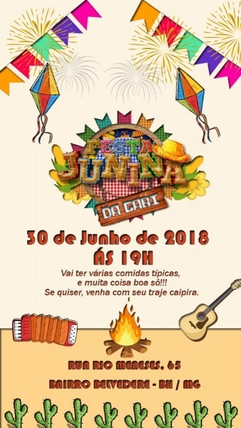 Convite arte para aniversário de festa junina
