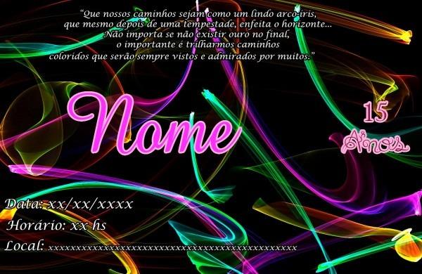 Convite balada neon personalizado