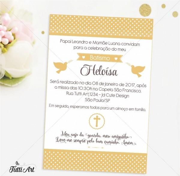 Convite batizado dourado