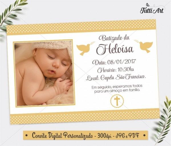 Convite batizado branco dourado digital no elo7
