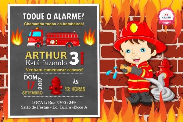 Convite bombeiro 02 no elo7