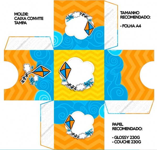 Convite caixa tampa pipa laranja e azul