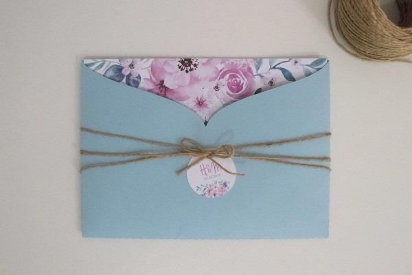 Convite casamento azul e rosa no elo7
