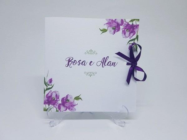 Convite casamento menta e lilas em convites