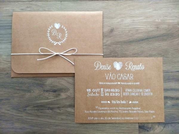 Convite casamento janela em papel kraft no elo7