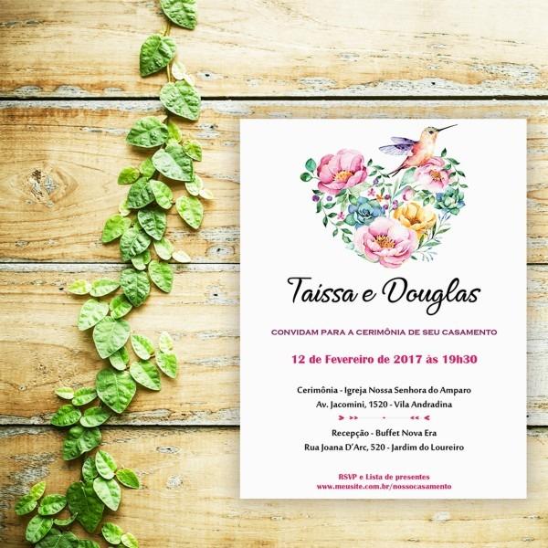 Convite casamento noivado floral aquarela impressão mod14 no elo7
