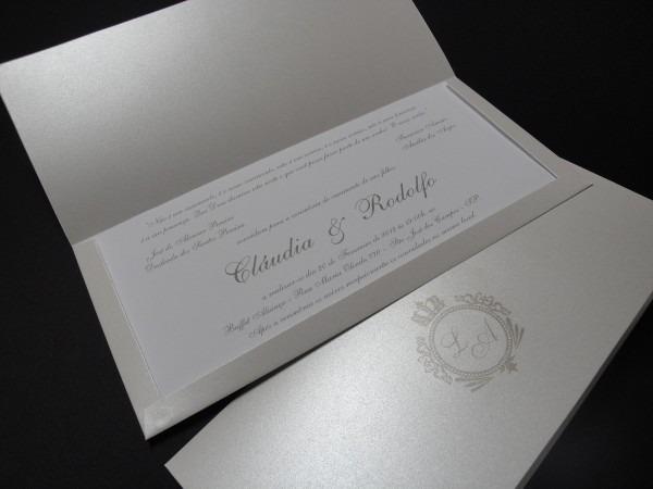 Convite casamento perolado envelope brasão 25 unid
