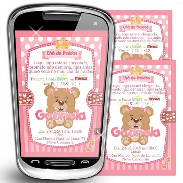 Convite chá de bebê menina digital virtual fralda ursinho