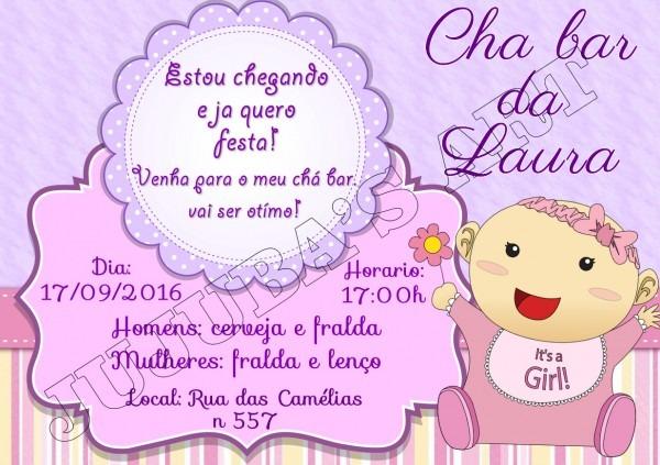 Convite chá bar de bebê sem envelope no elo7