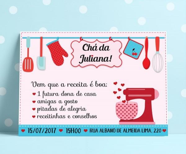 Convite chá de cozinha azul e vermelho no elo7