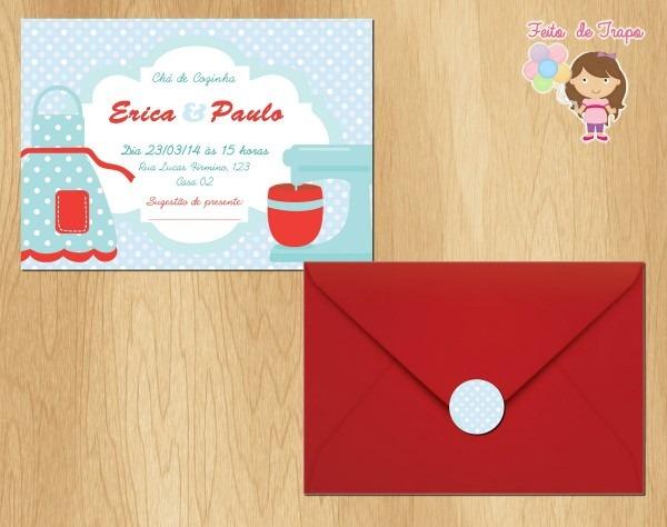 Convite chá de cozinha vermelho no elo7