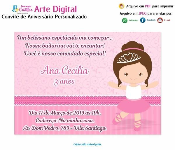 Convite da bailarina