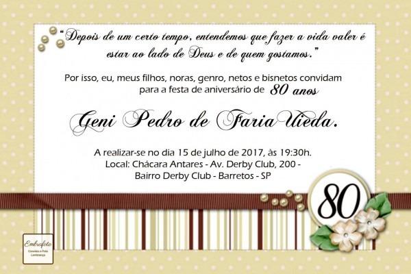 Convite de aniversario 80 anos galeria anivers rio po no elo7